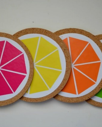 DIY Citrus Coasters: Protect your tables and add a pop of color to your decor with these coasters that take less than 5 minutes to make   Tastefully Frugal