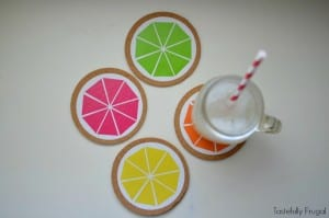 DIY Citrus Coasters: Protect your tables and add a pop of color to your decor with these coasters that take less than 5 minutes to make | Tastefully Frugal