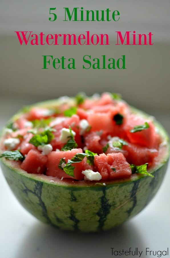Watermelon Mint Feta Salad: The perfect addition to any lunch or dinner that can be made in less than 5 minutes | Tastefully Frugal