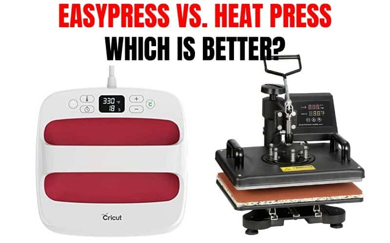 If you work with iron on vinyl a lot you've probably thought about getting a heat press or EasyPress. This post goes over pros and cons of both and which one is the better buy for what you're working on.