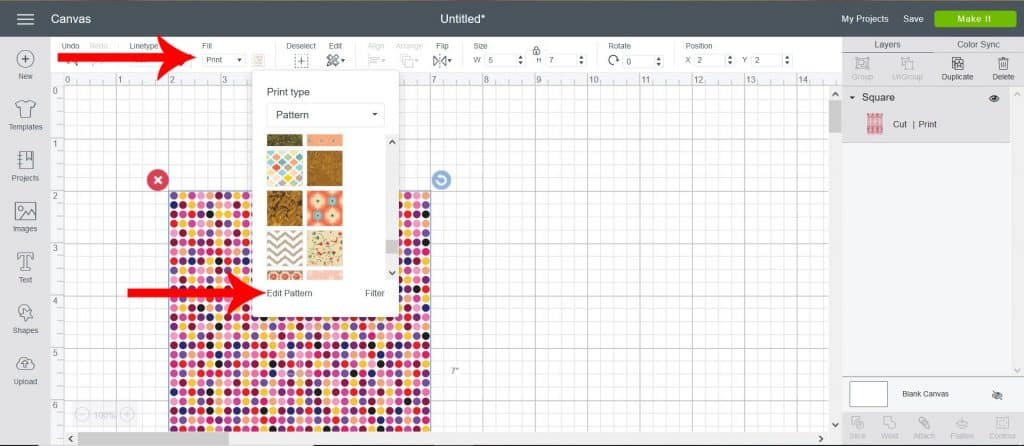 cricut design software screen