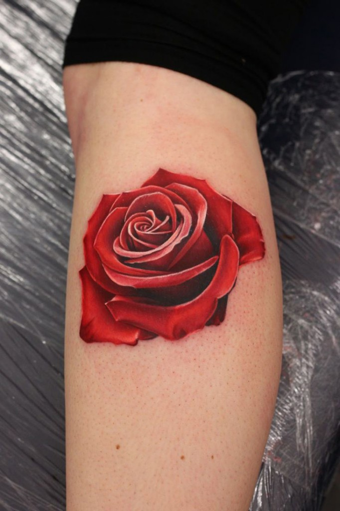 Realistic Red Rose Tattoo | Best tattoo design ideas
