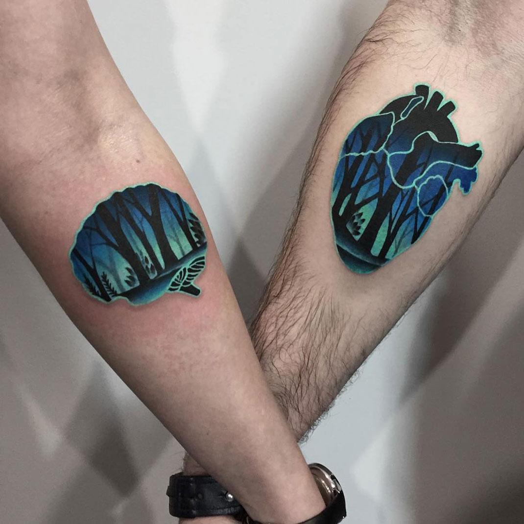 Couple Tattoos, A Heart & Brain | Best tattoo design ideas