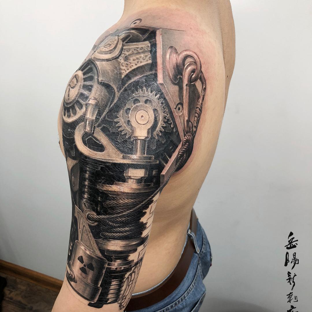 Mechanical Ice Climbing Sleeve Best Tattoo Design Ideas