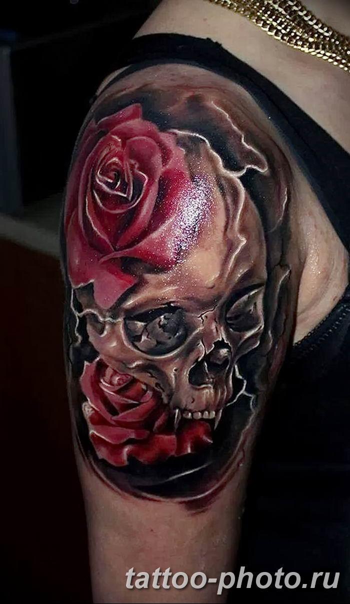 shoulder skull rose tattoo - 600×1034