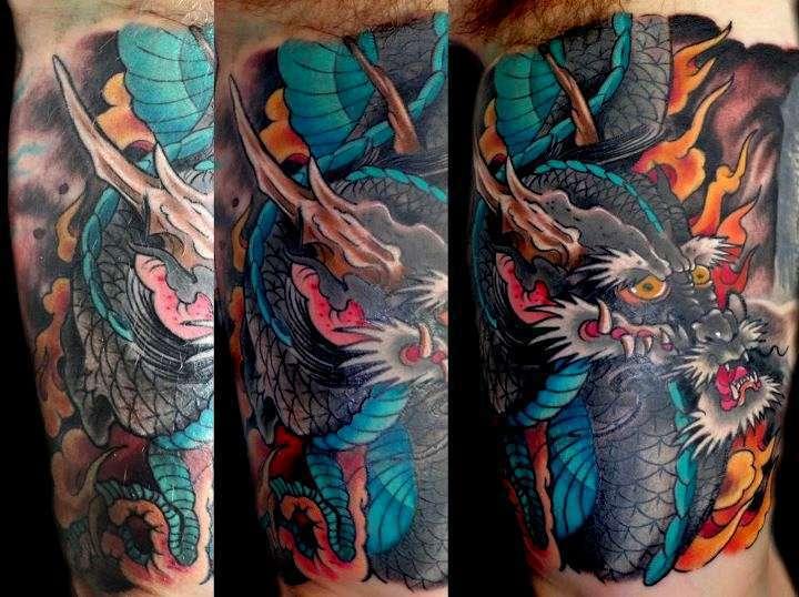 Sasha67 Blue Dragon Flames Color Dragon Japanese