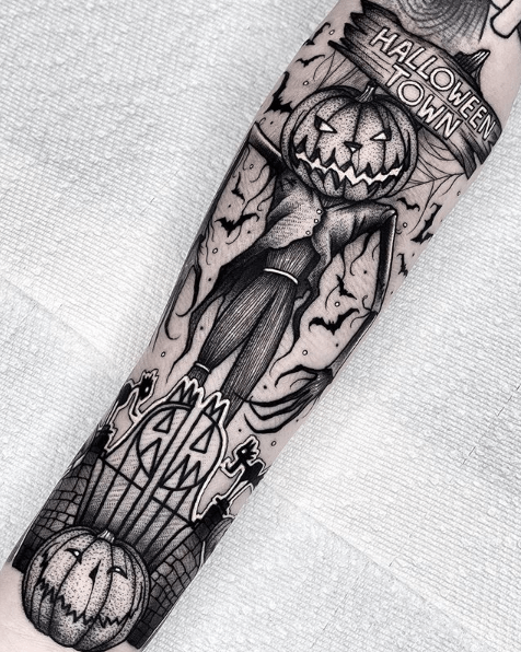 forearm halloween tattoo