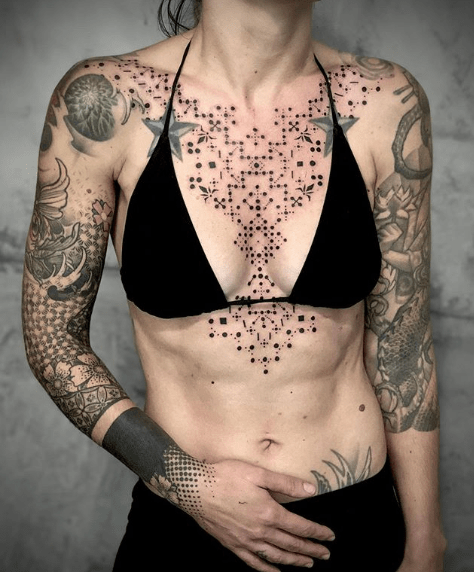 women chest tattoos