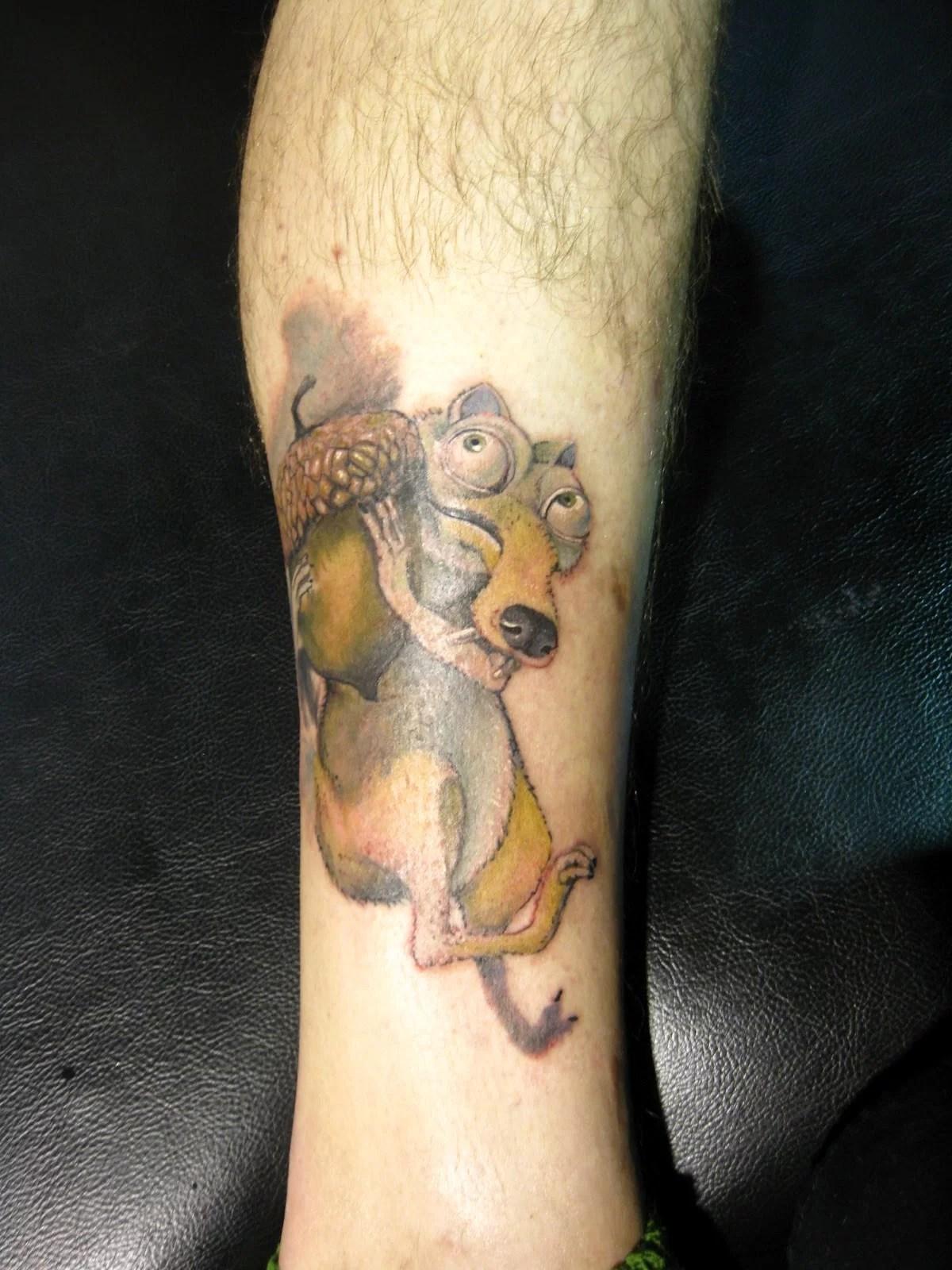 Scrat Tattoo On Leg Tattoomagz Tattoo Designs Ink