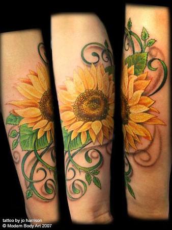 Pretty Sunflower Tattoo Design