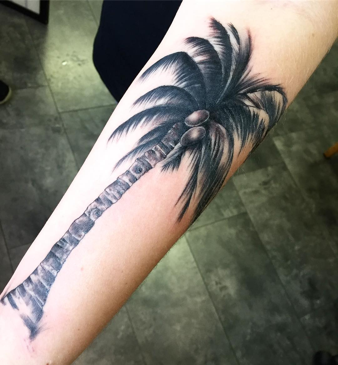 Dark Tall Palm Tree Tattoo For Men On Legs Tattoos Ideas And Designs