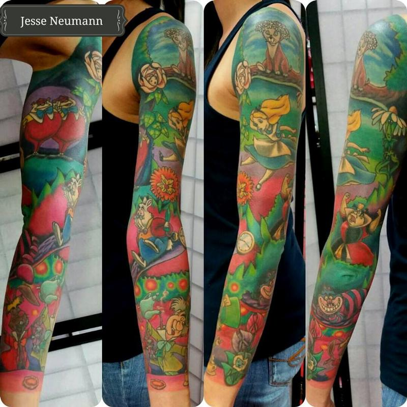 Alice In Wonderland Sleeve By Jesse Neumann Tattoos Ideas And Designs