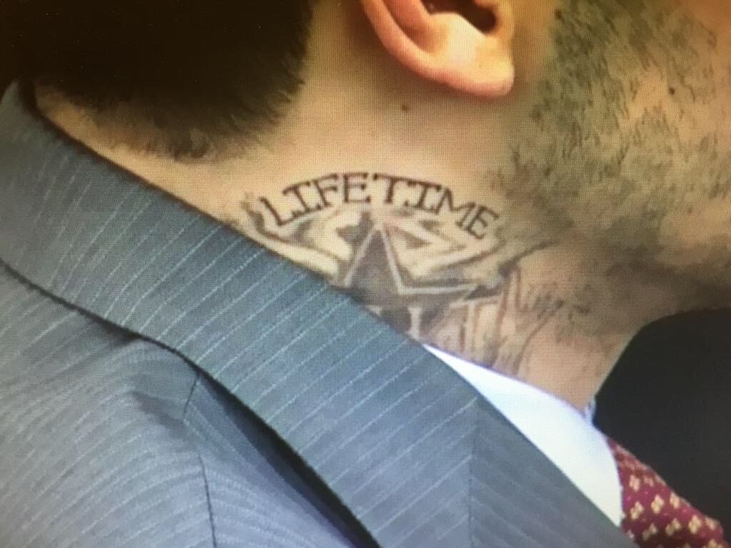 Aaron Hernandez Has A New Tattoo On His Neck It Read S Ideas And Designs