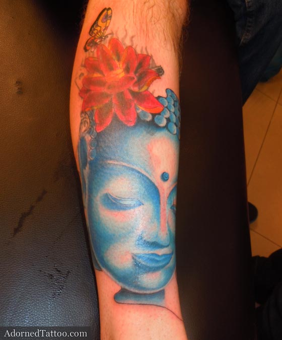 Blue Buddha On Calf Tattoo Adorned Tattoo Ideas And Designs