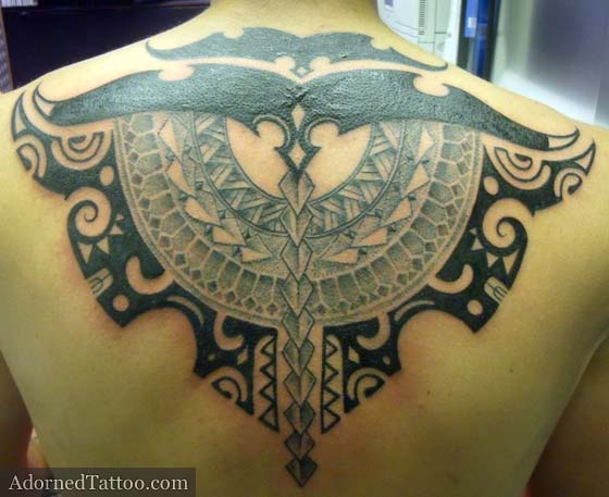 Tahitian Style Tribal Back Tattoo Adorned Tattoo Ideas And Designs