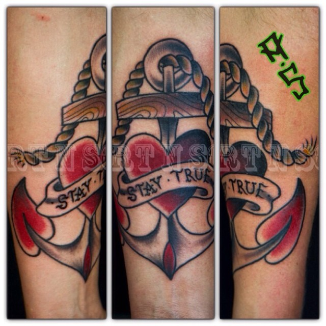 A Cool Traditional Style Anchor And Heart Tattoo By Ideas And Designs
