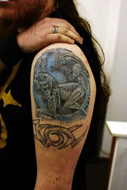 3D Alien And Armband Tattoos For Men Ideas And Designs