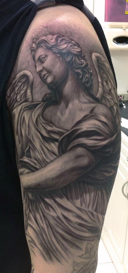 Angel Statue Tattoo By Pepper Tattoos Ideas And Designs