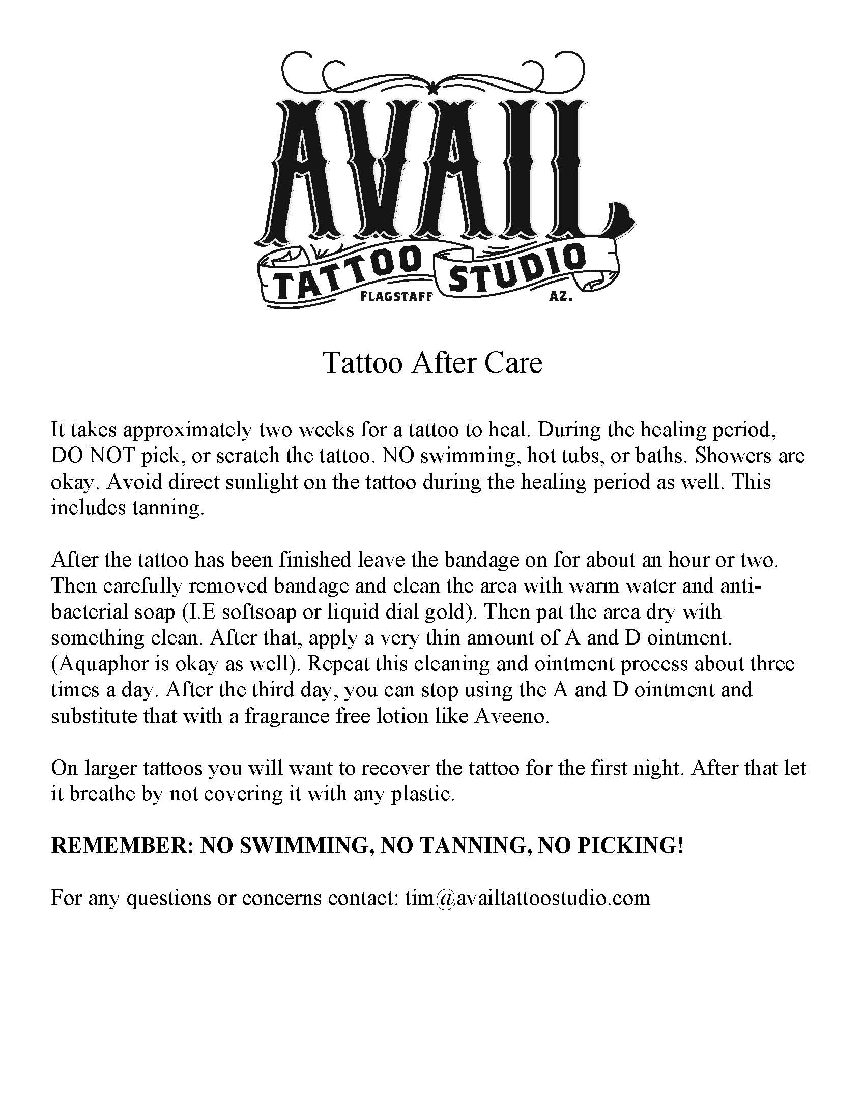 Aftercare Avail Tattoo Studio Ideas And Designs