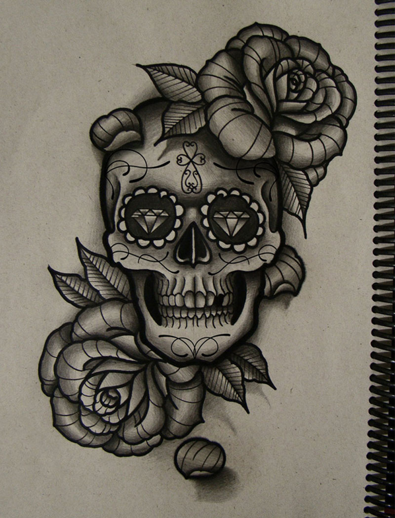 Sugar Skull And Rose Drawing At Getdrawings Com Free For Ideas And Designs