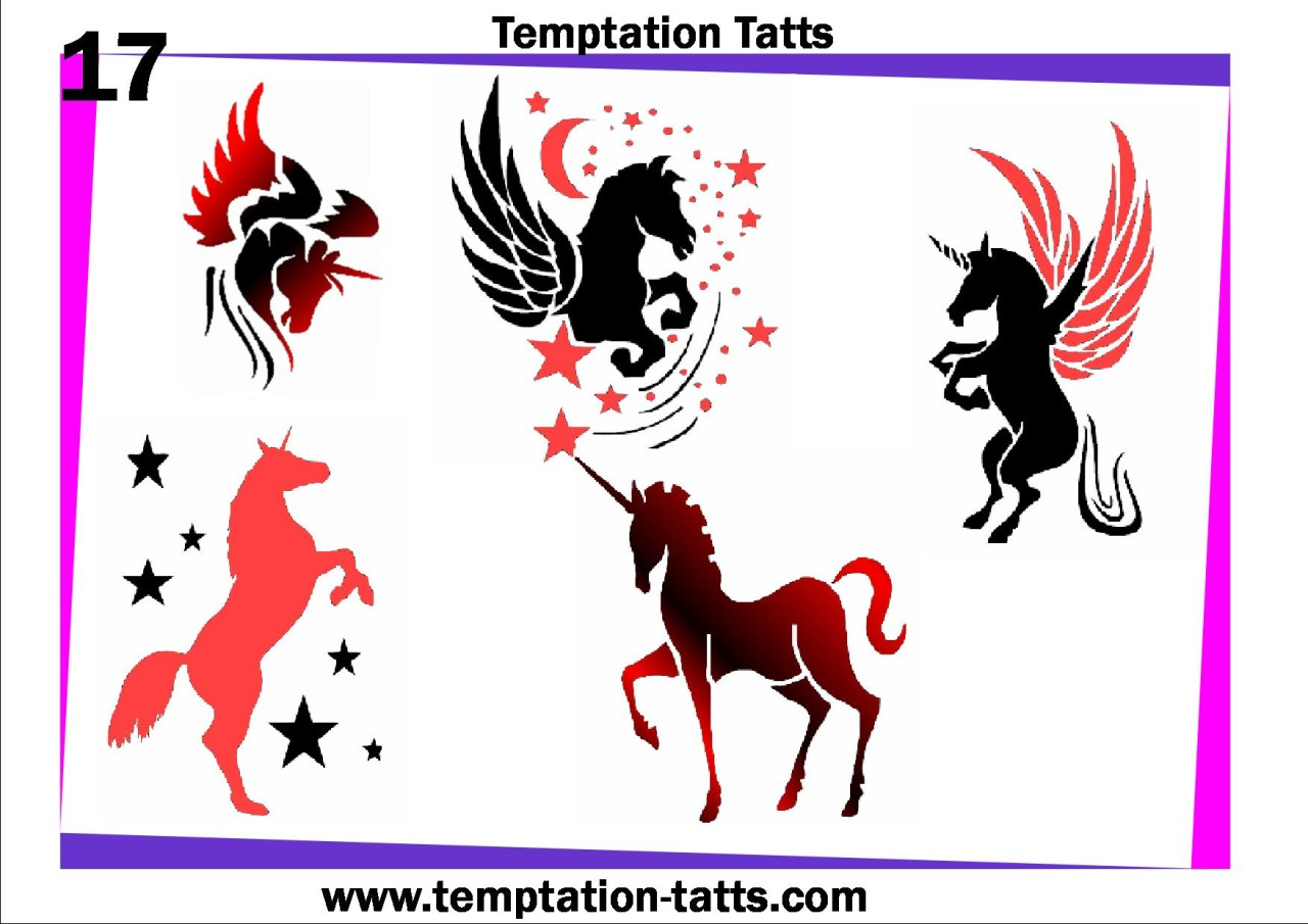 Airbrush Temporary Tattoo Stencil Set 157 Unicorn Bees New Ideas And Designs
