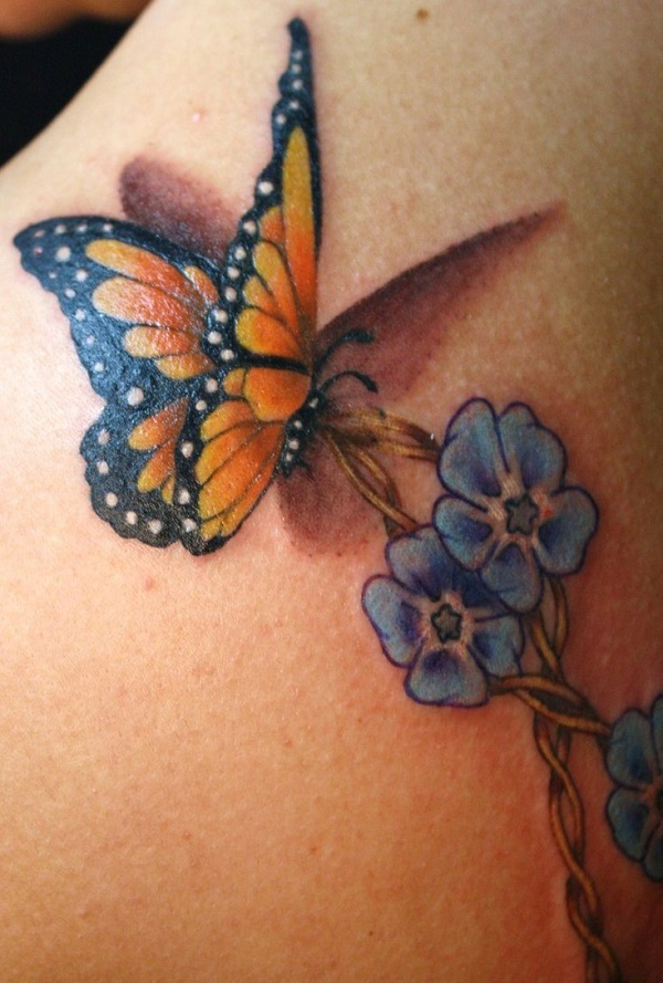 50 Butterfly Tattoos With Flowers For Women Nenuno Creative Ideas And Designs