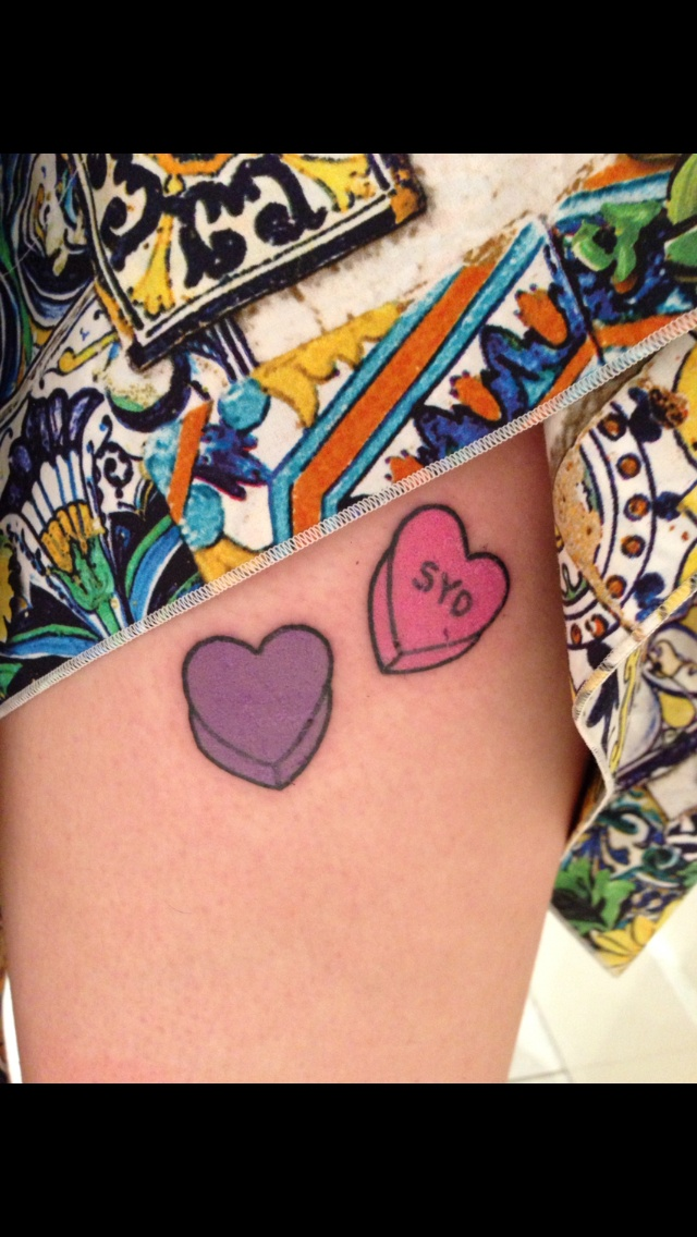 New Candy Love Heart Tattoos On Left Thigh Got It Ideas And Designs