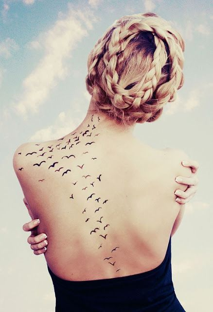 Small Flying Birds Tattoos On Back Inked Piercings Ideas And Designs