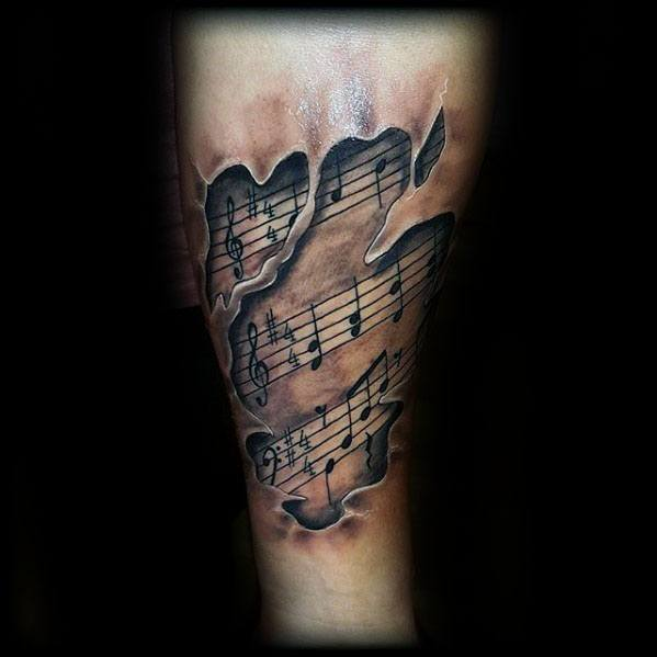 50 Music Staff Tattoo Designs For Men Musical Pitch Ink Ideas And Designs
