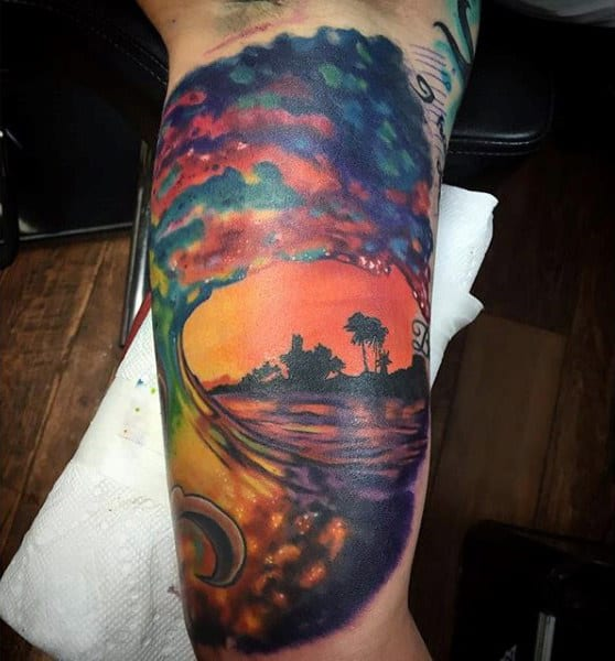 14 Beautifully Done Ocean Sunset Tattoos Ideas And Designs