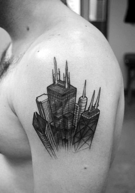 70 City Skyline Tattoo Designs For Men Downtown Ink Ideas Ideas And Designs