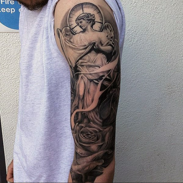 75 Religious Sleeve Tattoos For Men Divine Spirit Designs Ideas And Designs