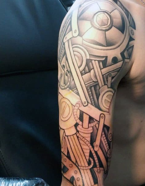 50 Mechanic Tattoos For Men Masculine Robotic Overhauls Ideas And Designs