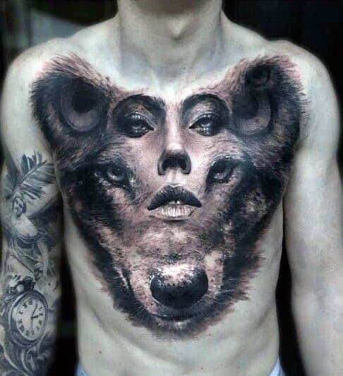 60 Wolf Chest Tattoo Designs For Men Manly Ink Ideas Ideas And Designs