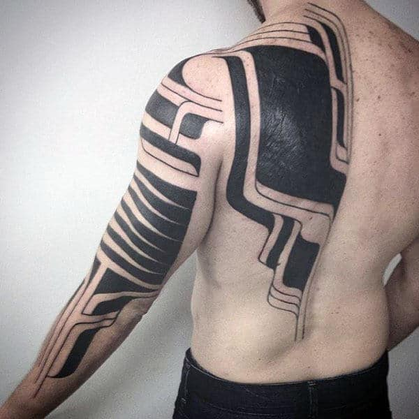 75 Tribal Arm Tattoos For Men Interwoven Line Design Ideas Ideas And Designs