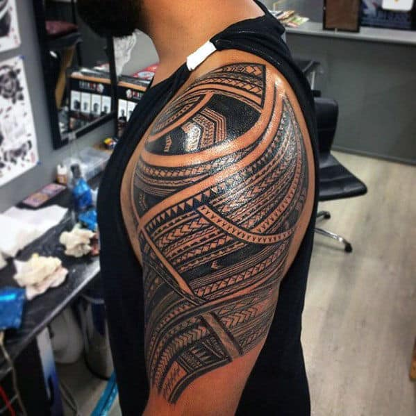 50 Polynesian Half Sleeve Tattoo Designs For Men Tribal Ideas And Designs