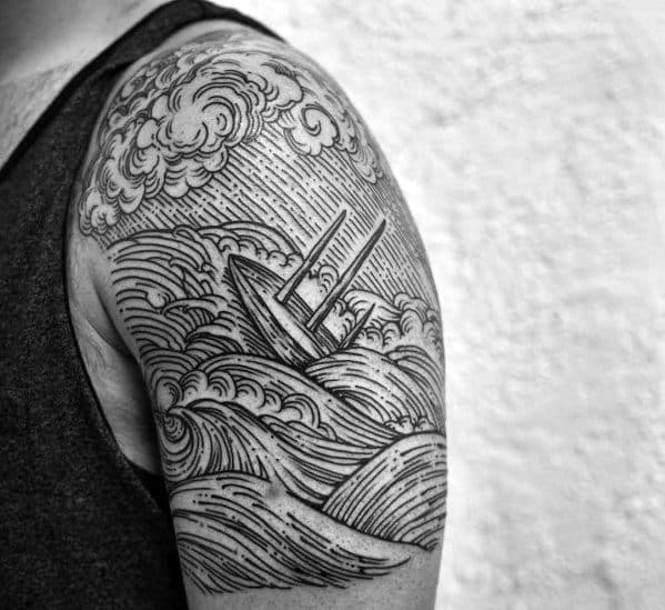 40 Sinking Ship Tattoo Designs For Men Shipwreck Ink Ideas Ideas And Designs