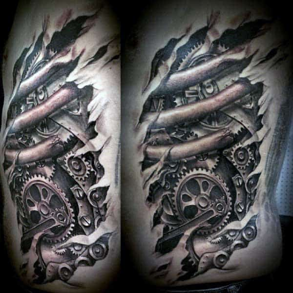 50 Ripped Skin Tattoo Designs For Men Manly Torn Flesh Ink Ideas And Designs