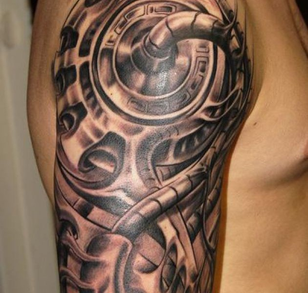 3D Biomechanical Tattoo On Sleeve For Men Ideas And Designs