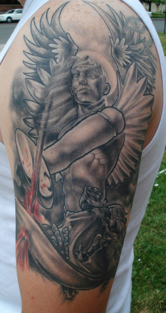 St Michael 1 2 Sleeve « Sole Tattoo Ideas And Designs