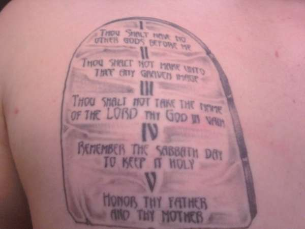 Tablet One Of Ten Commandments Tattoo Ideas And Designs