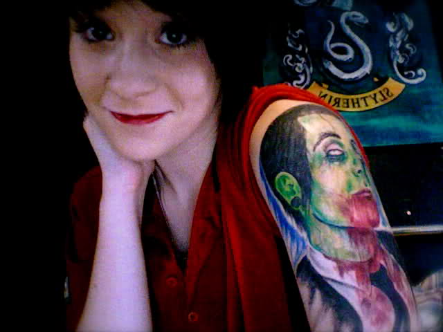Zombified Davey Havok Of Afi Tattoo Girl's Upper Arm Ideas And Designs
