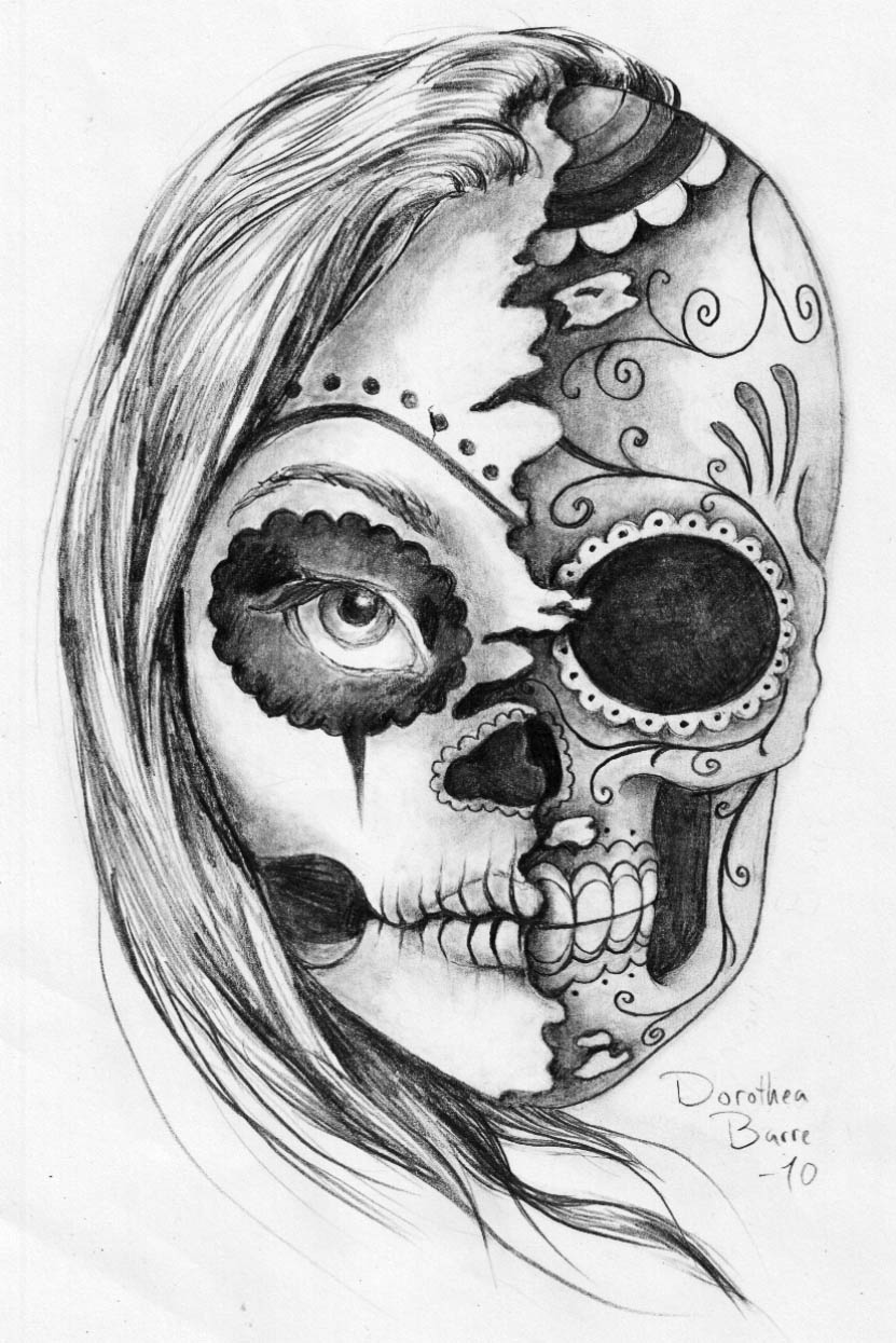 "The Sugar ""Two Face"" Skull Tattoo Sketch Design By Ideas And Designs"