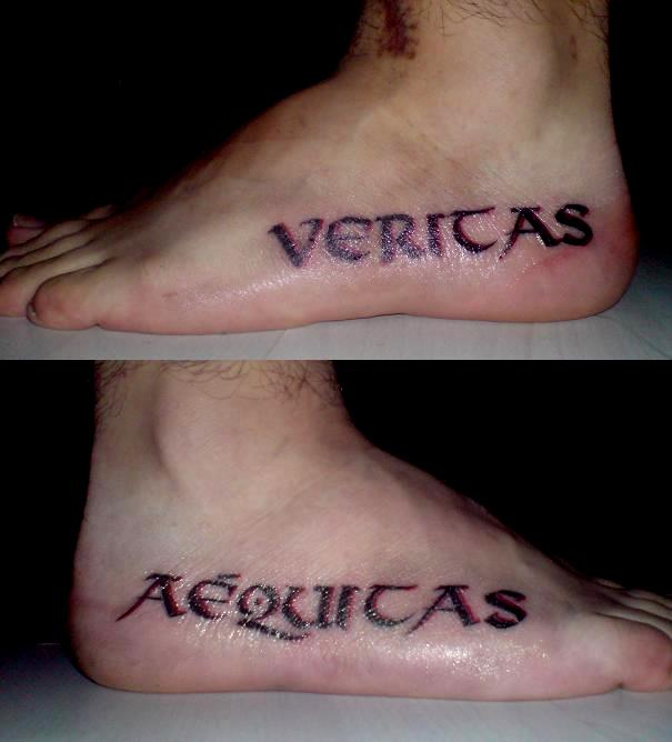 Cool Completed Pairs Veritas Aequitas Tattoos On Both Side Ideas And Designs
