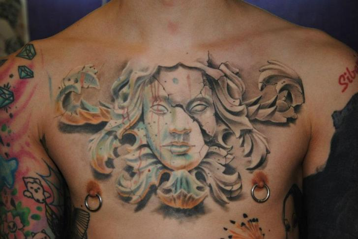 Chest Statue 3D Tattoo By Mai Tattoo Ideas And Designs