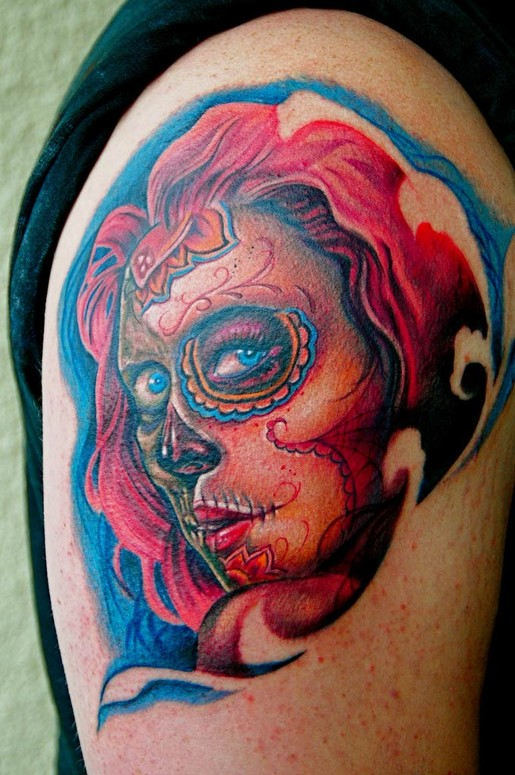 Sugar Skull Girl Tattoo By Big Gus Tattoos Ideas And Designs