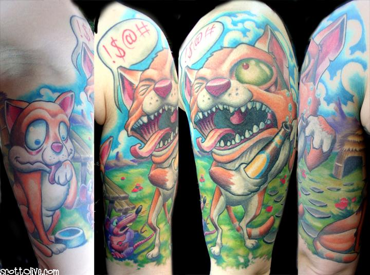 Alcohol Induced Turrets Syndrome Cat By Scott Olive Tattoos Ideas And Designs