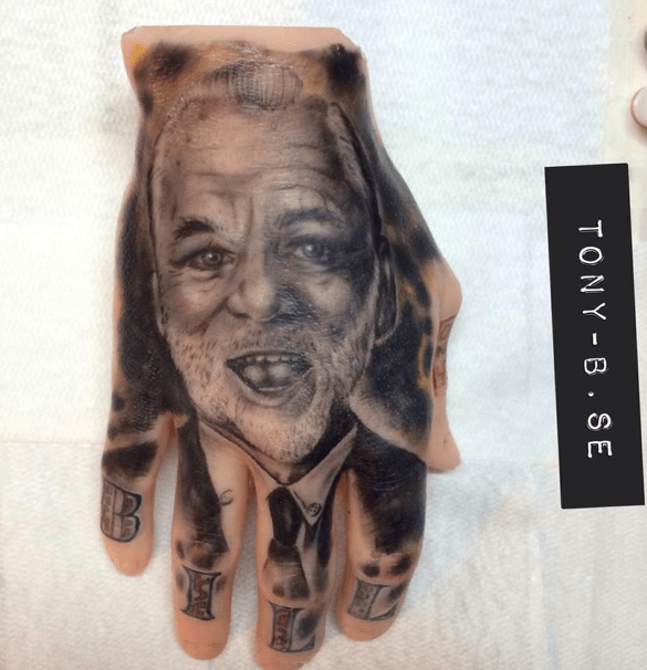 Bill Murray Hand Tattoo By Tony Boufandene Tattoos Ideas And Designs