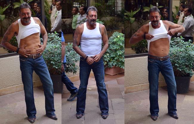 Six Pack Abs Ponytail And Tattoo Sanjay Dutt Walks Out Ideas And Designs