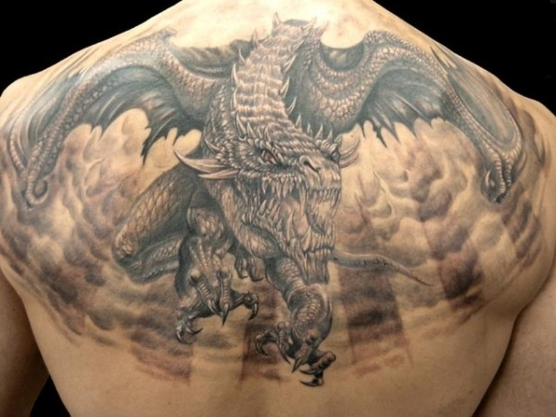 Big Horrendous Flying Dragon Tattoo On Back Tattoos Book Ideas And Designs